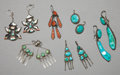 American Indian Art:Jewelry and Silverwork, SIX PAIRS OF SOUTHWEST SILVER AND STONE EARRINGS. c. 1930 - 1960.... (Total: 6 Pair)