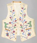 American Indian Art:Beadwork and Quillwork, A SANTEE SIOUX MAN'S PICTORIAL BEADED HIDE VEST. c. 1900...