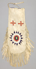 American Indian Art:Beadwork and Quillwork, A SIOUX BEADED HIDE TOBACCO POUCH. c. 1900...