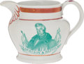 Political:3D & Other Display (pre-1896), William Henry Harrison: Adorable Strawberry Luster Creamer....