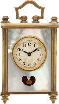 Timepieces:Clocks, Swiss Miniature Wig Wag Mother-of-Pearl Clock. ...