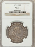 Early Half Dollars: , 1795 50C 2 Leaves VF25 NGC. NGC Census: (61/342). PCGS Population(90/294). Mintage: 299,680. Numismedia Wsl. Price for pro...