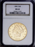 Liberty Double Eagles: , 1896 $20 MS63 NGC. A solidly struck example with apricot accents onthe brassy surfaces. Scattered abrasions appear in the ...