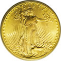 1908 $20 No Motto, Wells Fargo MS66 PCGS. Short Rays Obverse. The fields of this khaki-gold Premium Gem are essentially...