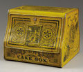 """Western Expansion:Cowboy, """"SCHEPP'S CAKE BOX"""" - Advertising for Schepp's Coconut; little tinbox by Somers Brothers, Brooklyn, New York. Yellow and b..."""