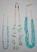 American Indian Art:Jewelry and Silverwork, THREE SANTO DOMINGO TURQUOISE AND SHELL NECKLACES... (Total: 3Items)