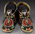 American Indian Art:Beadwork and Quillwork, A PAIR OF CHEYENNE BEADED HIDE MOCCASINS... (Total: 1 Pair)