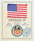 Transportation:Space Exploration, Apollo 16 Lunar Module Flown American Flag on CertificateOriginally from the Personal Collection of Mission Lunar ModulePilo...