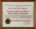 Transportation:Space Exploration, Ed White II: NASA Gemini Group Achievement Award from His PersonalCollection. ...