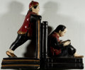Books:Prints & Leaves, [Bookends]. Pair of Asian Figure Bookends. Ceramic and painted ingold, red, cream, and black. Both are dusty and one has ch...(Total: 2 Items)