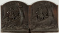 Books:Prints & Leaves, [Bookends]. Pair of Matching Viking Bookends. Metal with bronzefinish. Light surface pitting and a bit dusty, but with a ri...(Total: 2 Items)