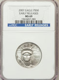 Modern Bullion Coins, 2007 $50 Half-Ounce Platinum Eagle Early Releases MS69 NGC. PCGSPopulation (6/2). Numismedia Wsl. Pric...