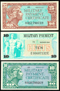Military Payment Certificates:Series 611, Series 611 10¢. Series 611 25¢. Series 692 10¢.. ... (Total: 3 notes)