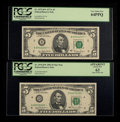 Small Size:Federal Reserve Notes, Fr. 1975-B* $5 1977A Federal Reserve Star Note. PCGS Very Choice New 64PPQ; Fr. 1976-D* $5 1981 Federal Reserve Star Note. PCG... (Total: 2 notes)