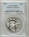 Modern Bullion Coins: , 1997 P$100 One-Ounce Platinum Eagle MS69 PCGS. PCGS Population(187/1). NGC Census: (128/4). Mintage: 56,000. Numismedia Ws...