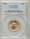 Modern Bullion Coins: , 1986 G$10 Quarter-Ounce Gold Eagle MS69 PCGS. PCGS Population(1797/28). NGC Census: (8081/153). Mintage: 726,031. Numismed...