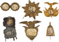 Political:Ferrotypes / Photo Badges (pre-1896), Grover Cleveland: Six Campaign Badges.... (Total: 6 Items)