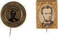 Political:Ferrotypes / Photo Badges (pre-1896), Abraham Lincoln: Two 1864 Campaign Badges.... (Total: 2 Items)