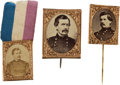 Political:Ferrotypes / Photo Badges (pre-1896), George McClellan: Trio of Albumen Campaign Badges.... (Total: 3Items)