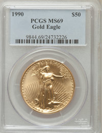 1990 G$50 One-Ounce Gold Eagle MS69 PCGS. PCGS Population (1207/24). NGC Census: (1300/44). Mintage: 373,210. Numismedia...