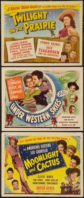 "Moonlight and Cactus & Other Lot (Universal, 1944). Title Lobby Cards (3) (11"" X 14""). Musical. ... (T..."