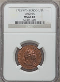 Colonials, 1773 1/2P Virginia Halfpenny, Period MS64 Red and Brown NGC. Newman24-K, W-1570, R.1....