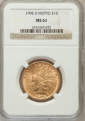 Indian Eagles: , 1908-D $10 Motto MS61 NGC. NGC Census: (157/205). PCGS Population(62/311). Mintage: 836,500. Numismedia Wsl. Price for pro...