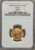 "Australia, Australia: Victoria gold ""Shield"" Sovereign 1874-M AU53NGC, ..."