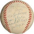 Autographs:Baseballs, 1952 St. Louis Browns Team Signed Baseball with Satchel Paige....