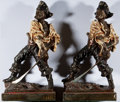 Books:Prints & Leaves, [Bookends]. Pair of Matching Pirate Bookends. Metal with bronzefinish and painted in black, cream, and red. Stamped on rear...(Total: 2 Items)