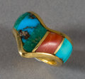 American Indian Art:Jewelry and Silverwork, A NAVAJO GOLD AND STONE RING. Ben Nighthorse. c. 1990...