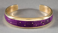 A NAVAJO GOLD AND LAVULITE BRACELET Ray Tracey c. 1990