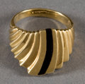 American Indian Art:Jewelry and Silverwork, AN ISLETA GOLD AND JET RING. Ted Charveze. c. 1990...