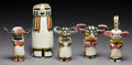 American Indian Art:Kachina Dolls, FIVE HOPI COTTONWOOD KACHINA DOLLS. c. 1940... (Total: 5 Items)