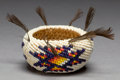 American Indian Art:Baskets, A PAIUTE COILED AND BEADED BOWL...
