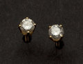 Estate Jewelry:Earrings, Gold Diamond Stud Earrings. ...