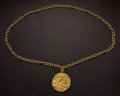 Estate Jewelry:Pendants and Lockets, Extraordinary Tiffany 18k Gold Large 43 mm Zodiac Taurus MedallionWith 18k Chain. ...