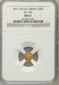 California Fractional Gold: , 1871 25C Liberty Octagonal 25 Cents, BG-765, R.3, MS61 NGC. NGCCensus: (6/21). PCGS Population (36/178). (#10592)...