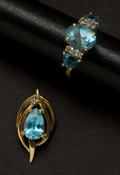 Estate Jewelry:Other , Blue Topaz & Diamond Gold Ring & Pendant. ... (Total: 2 Items)