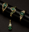 Estate Jewelry:Other , Three Emerald Gold Rings & One Emerald Gold Pendant. ...(Total: 4 Items)