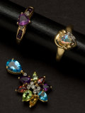 Estate Jewelry:Other , Two Gemstone Gold Rings & One Multi-Color Gemstone GoldPendant. ... (Total: 3 Items)