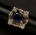 Estate Jewelry:Other , Blue Sapphire Diamond & Gold Ring. ...