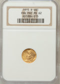 Commemorative Gold: , 1915-S G$1 Panama-Pacific Gold Dollar MS62 NGC. NGC Census:(381/2991). PCGS Population (426/4612). Mintage: 15,000. Numism...