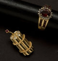 Estate Jewelry:Other , Ruby Gold Ring & Pendant. ... (Total: 2 Items)