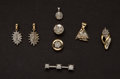 Estate Jewelry:Pendants and Lockets, Eight Gold & Diamond Pendants. ... (Total: 8 Items)