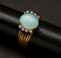 Estate Jewelry:Other , Opal Gold Ring & Pearl Gold Earrings. ... (Total: 2 Items)