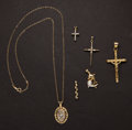 Estate Jewelry:Pendants and Lockets, Six Gold & Diamond Pendants. ... (Total: 6 Items)