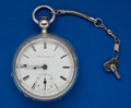 Timepieces:Pocket (pre 1900) , Elgin 17 Jewel Coin Silver Key Wind Open Case Pocket Watch. ...