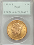 Liberty Double Eagles: , 1897-S $20 MS61 PCGS. PCGS Population (1823/5658). NGC Census:(3789/6731). Mintage: 1,470,250. Numismedia Wsl. Price for p...