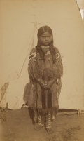 American Indian Art:Photographs, HUTCHINS AND LENNY CABINET CARD OF QUANNAH PARKER'S DAUGHTER. c.1890...